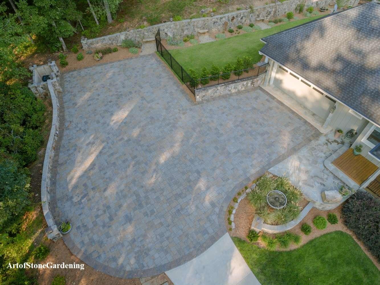 Belgard paver driveway and stone walls