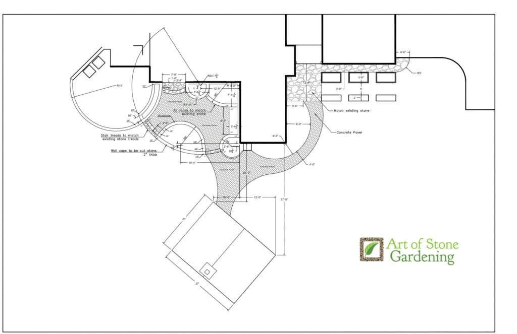 Preliminary architectural design with measurements