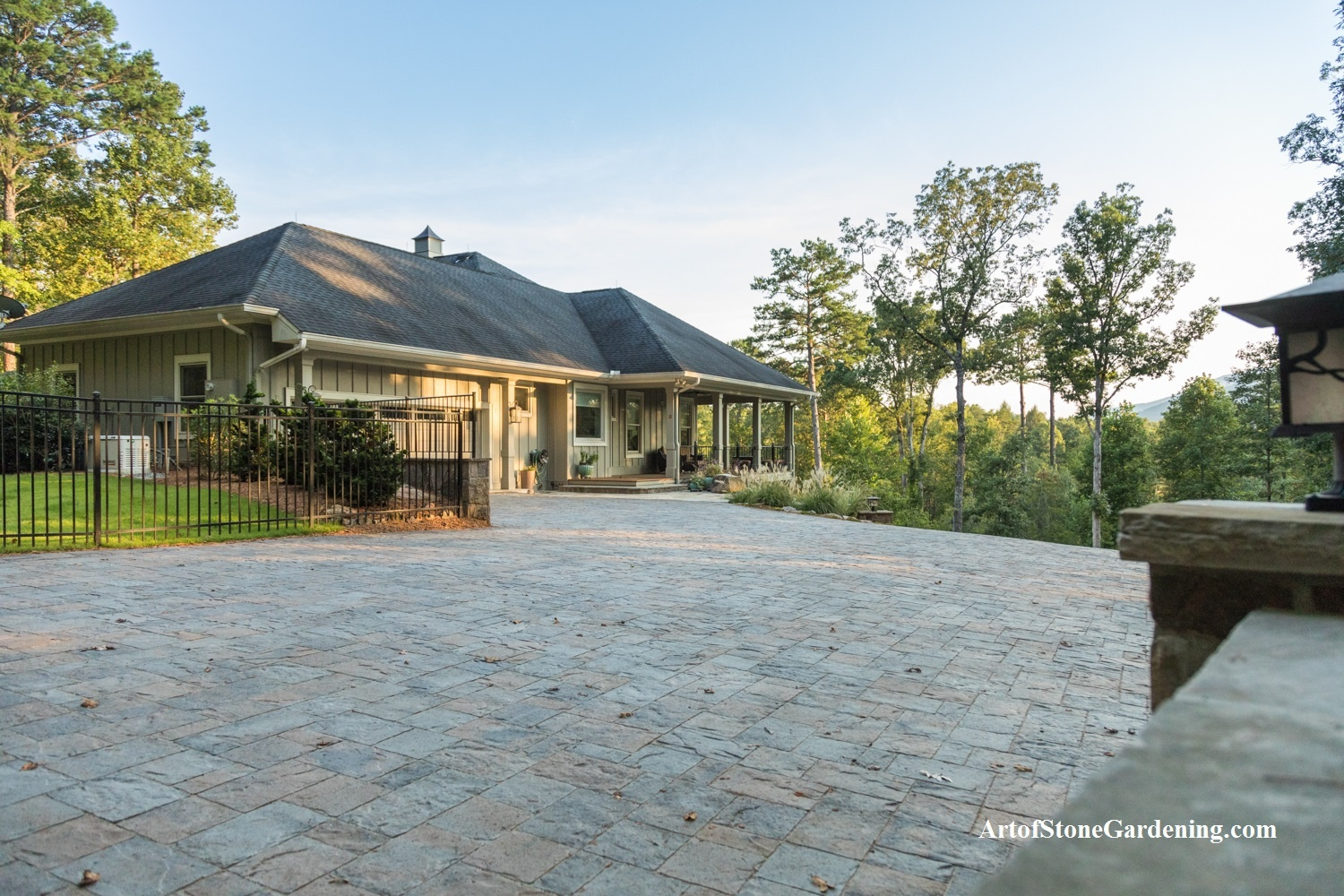 Belgard paver driveway and entrance to Sautee Nacoochee home