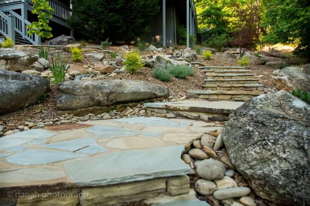 Stone steps on hillside with landing