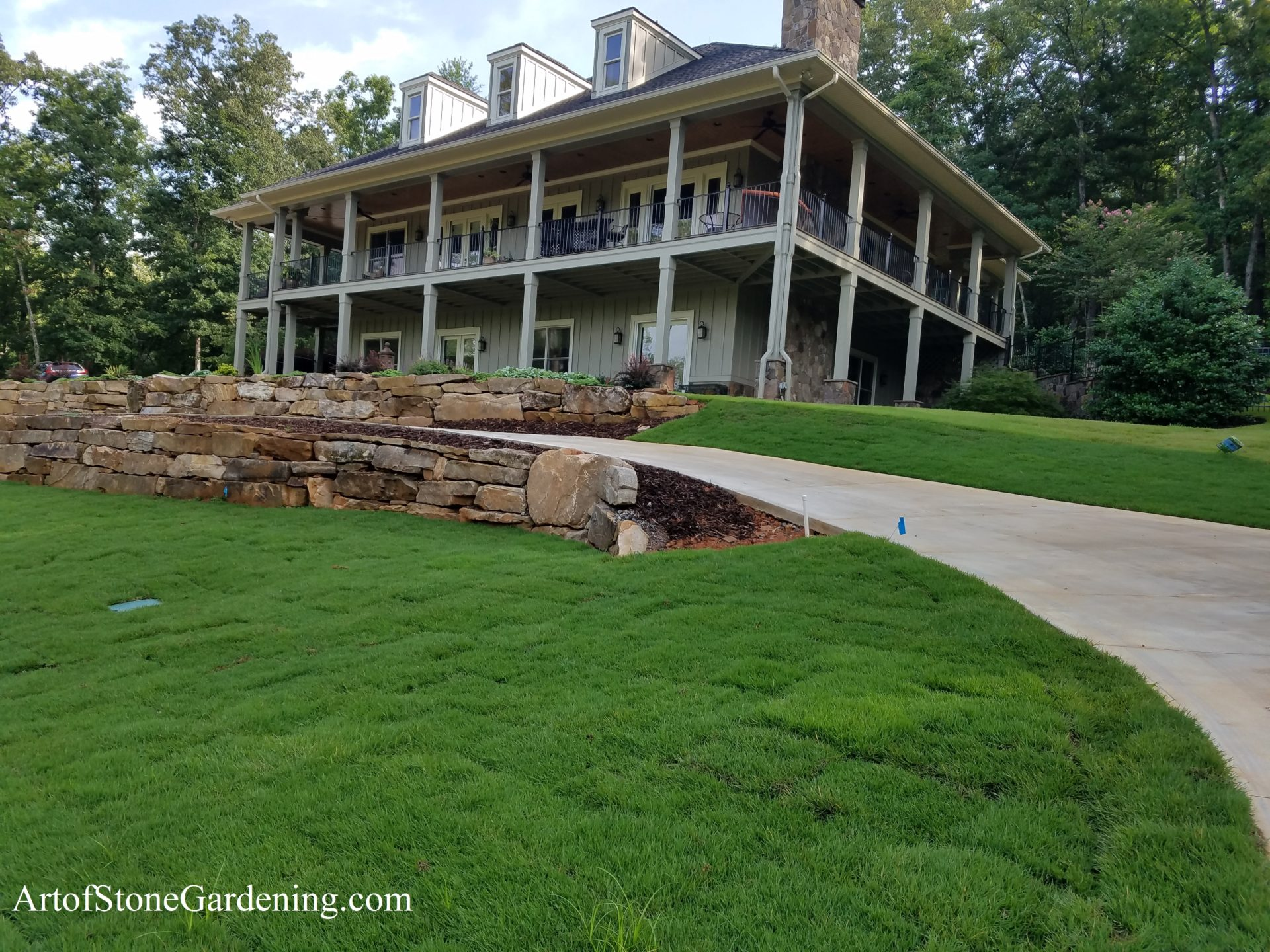 Stone walls and new sod