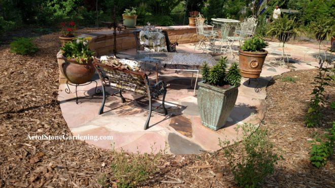 Flagstone patio and knee wall