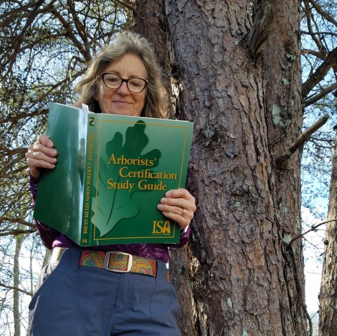 Suzanne Brosche studying for Arborists' License