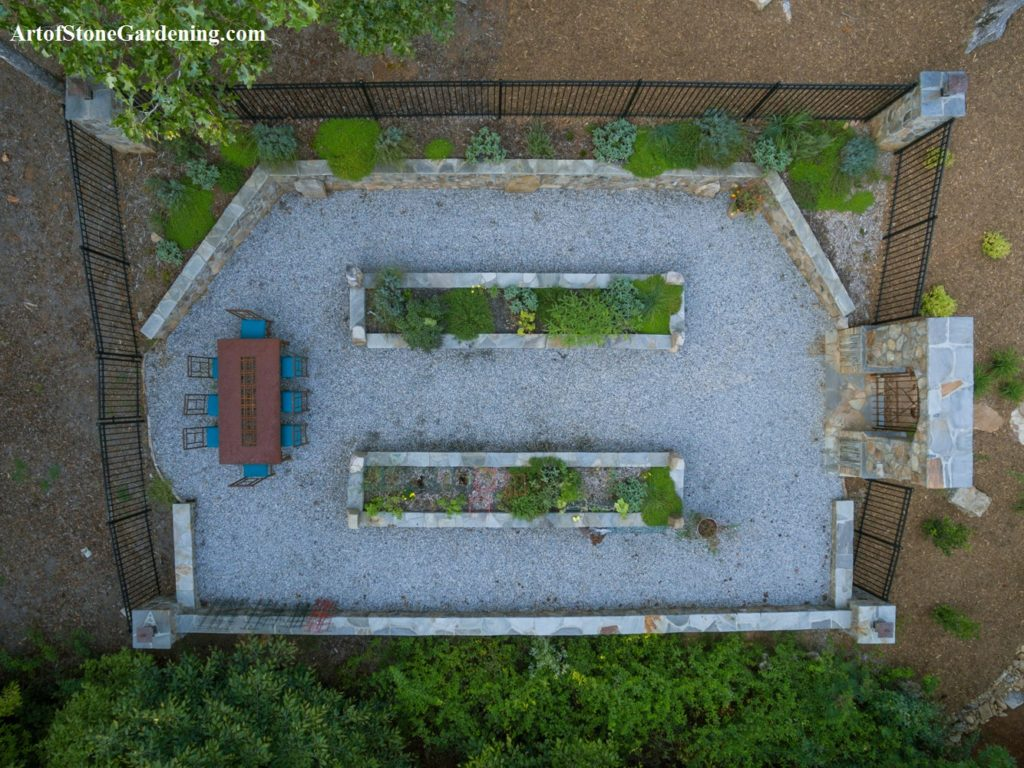 Custom gravel and stone vegetable garden
