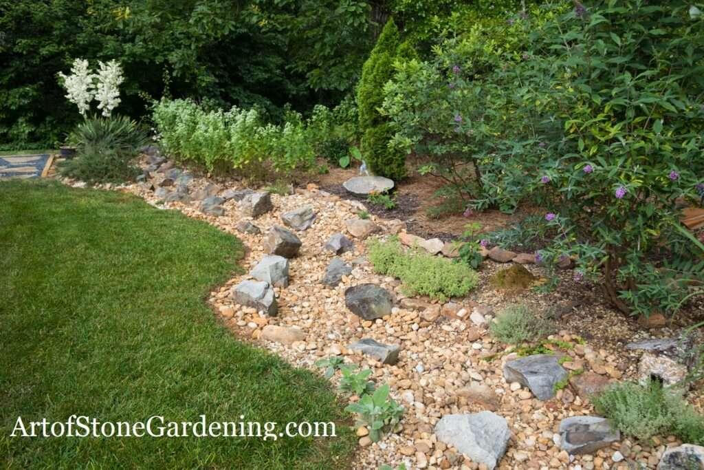 dry creek bed in Dahlonega and garden
