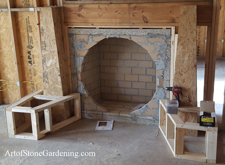 stone circle shape gas fireplace