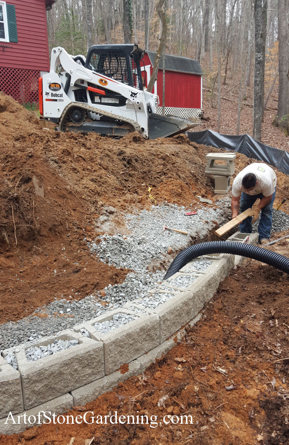 Gravel Parking Area and Retaining Wall Art of Stone Gardening
