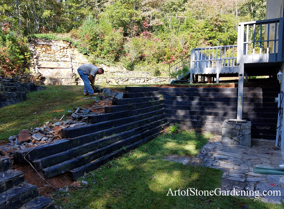 Retaining Wall Replacement From Wood To Allan Block Art Of Stone Gardening