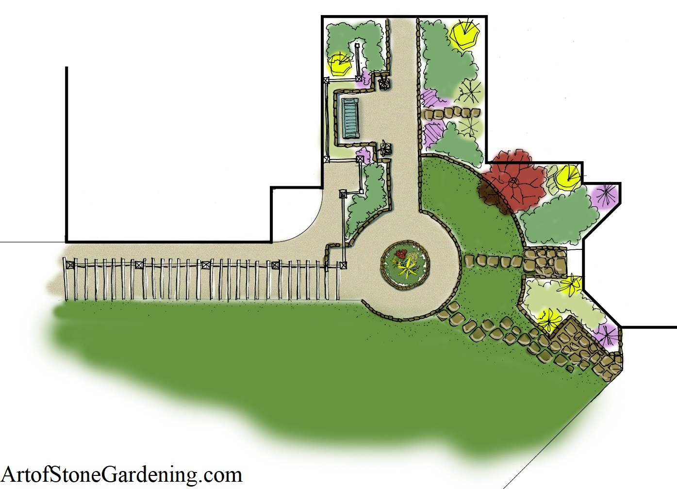 Architectural design colored plan drawing
