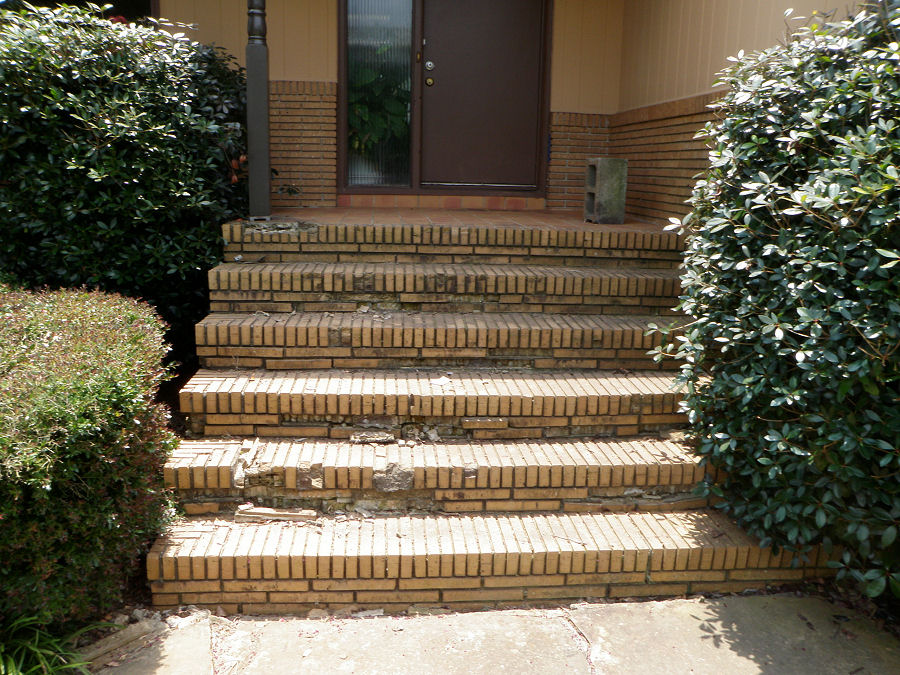 before brick stairs, changed to stone