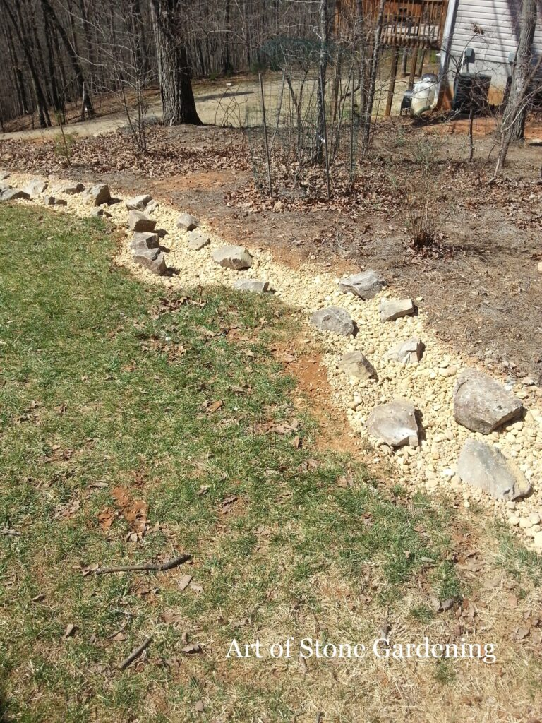 Dry Creek bed in progress