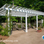 Custom Arbor with Stamped Concrete and Paver Patio
