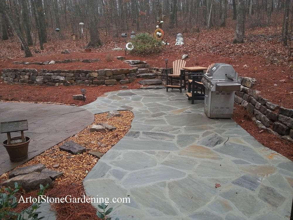 Grey flagstone patio