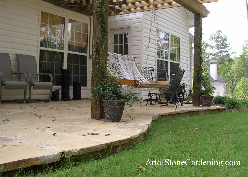 Flagstone patio and vine