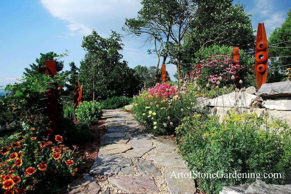 Perennial Garden with Stone path