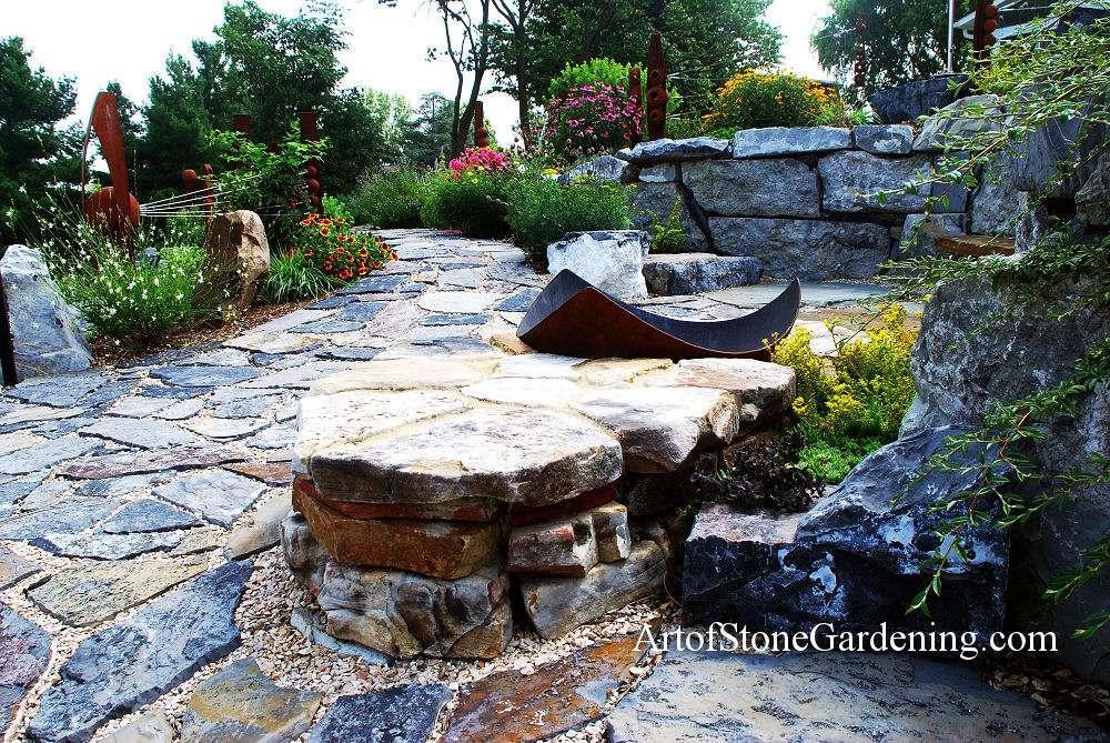 Perennial garden and stone path