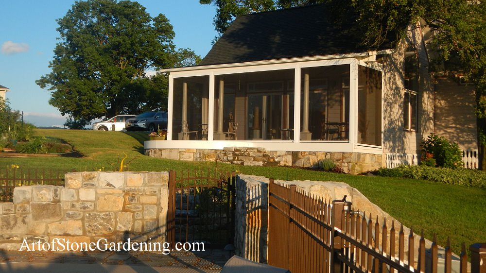 custom masonry stone fence and patio