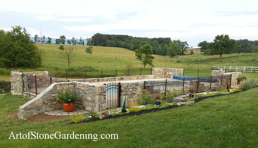 Masonry fence and patio
