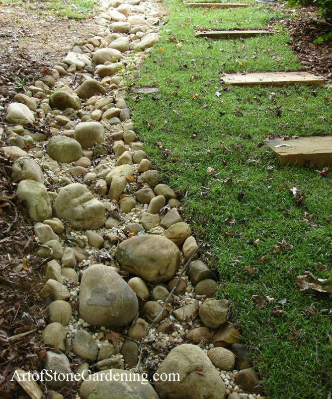 Dry creek bed and stone steps