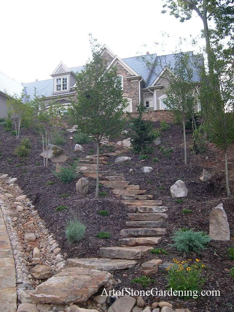 Dry creek bed, steps and garden in Dahlonega