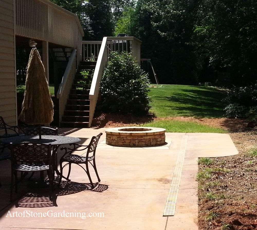 Firepit in concrete patio