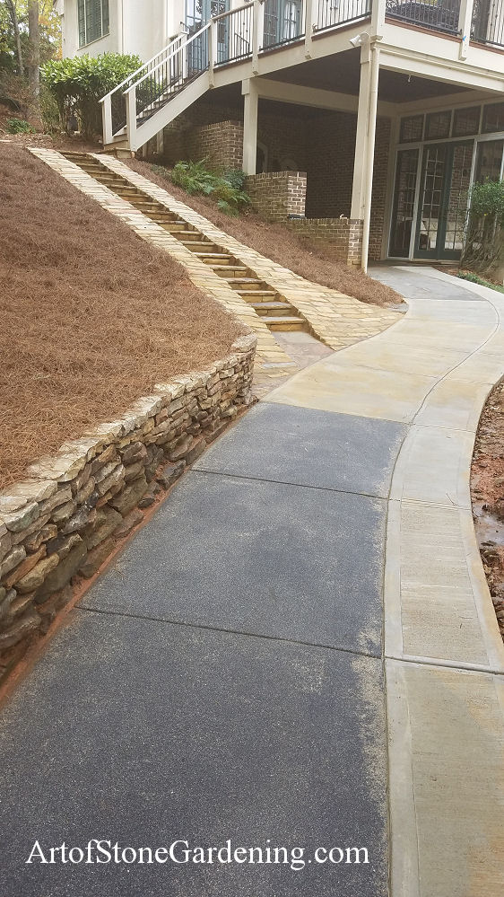 Stone cart path with built in steps