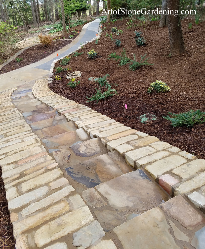 Stone cart path with built in steps on lake lanier