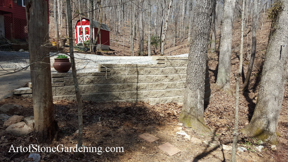 Block wall and parking area in Dahlonega