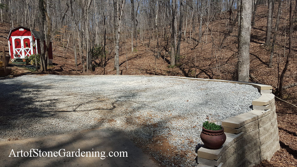 Block wall and gravel parking in Dahlonega