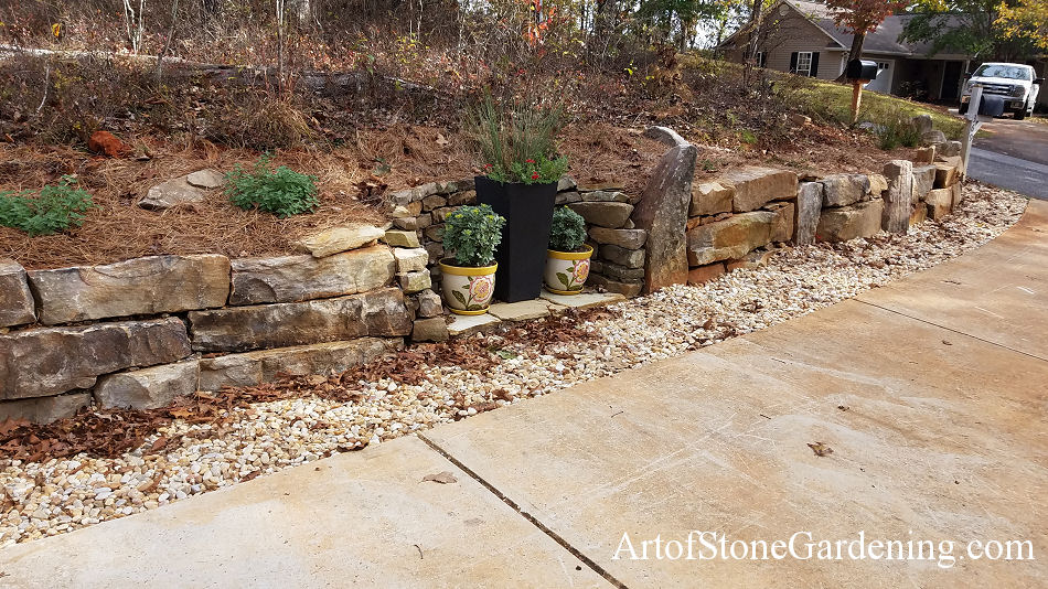 Curb Appeal Landscape Makeover with Boulder Gravity Wall