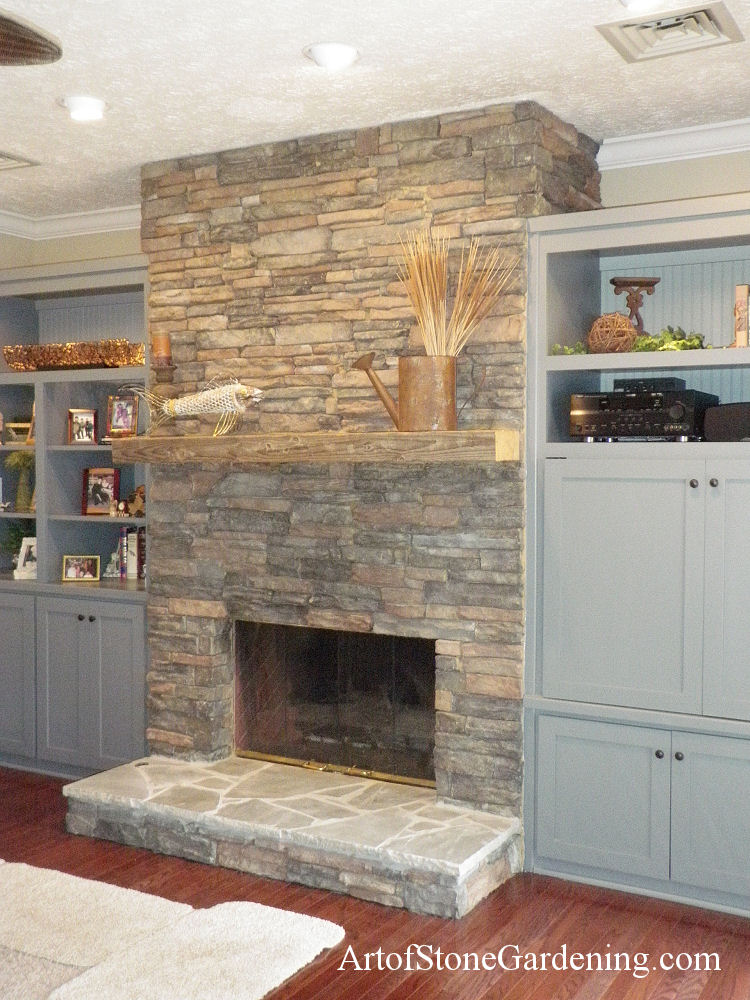 Masonry floor to ceiling fireplace