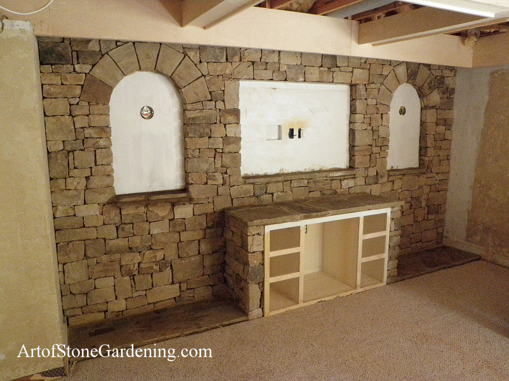 Indoor masonry entertainment center