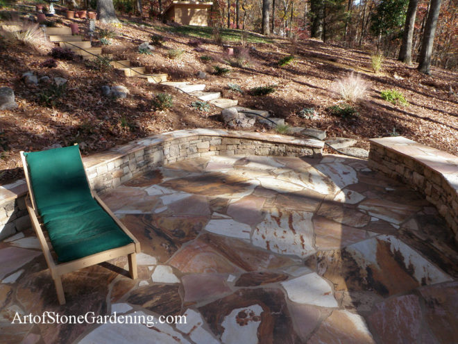Flagstone patio and knee wall in Gainesville hall County