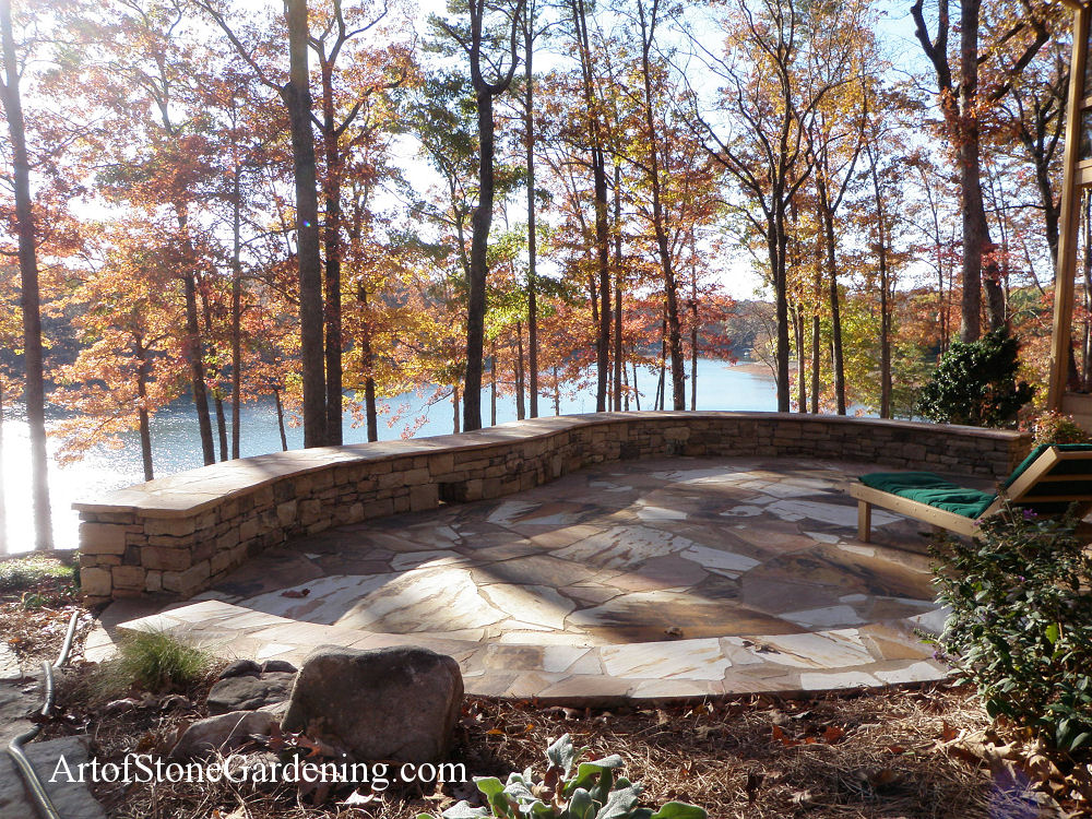 Flagstone patio and knee wall on Lake Lanier