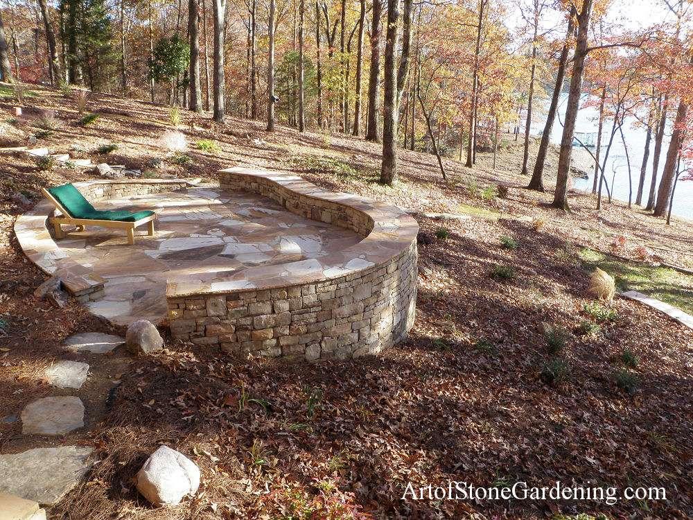 Flagstone patio and knee wall on Lake Lanier