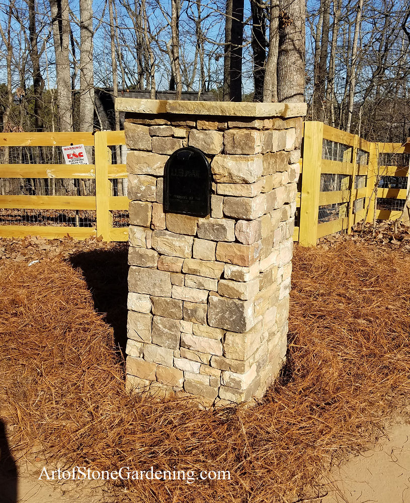 Stacked stone mailbox in Dahlonega