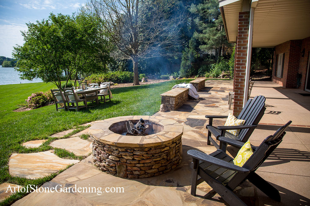 Firepit and eating area in hall county