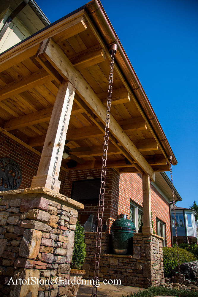 Rain chain and copper gutters