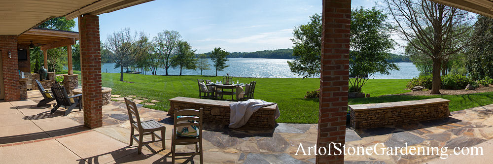 Lake lanier masonry patio and entertainment area