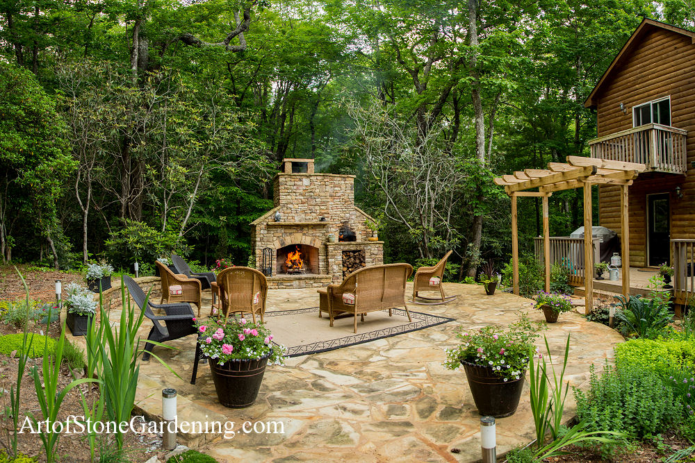 Fireplace and patio in Cleveland