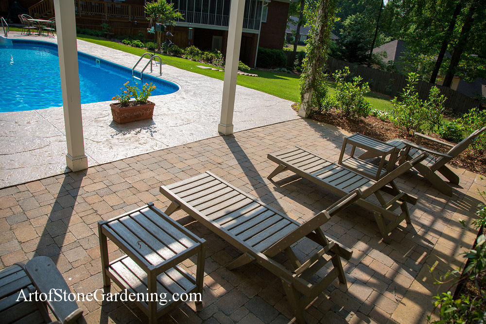 Paving stone patio and pool deck