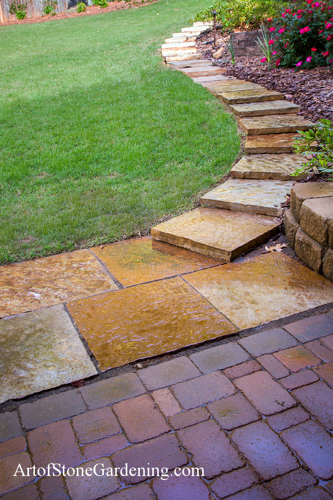 Stone steps and paver patio in Gainesville