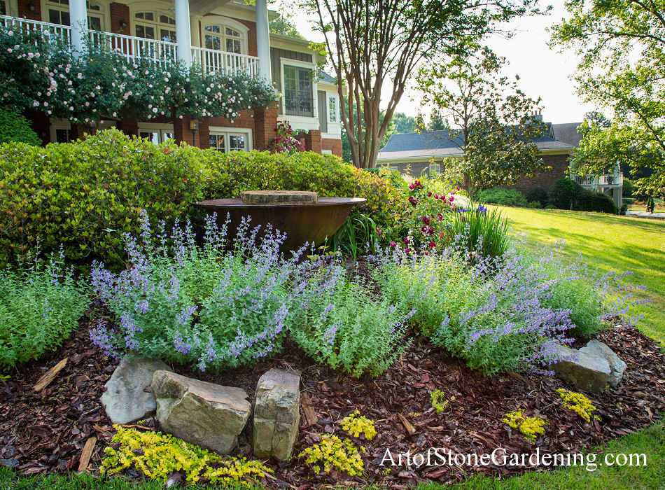 Perennial garden and fountain