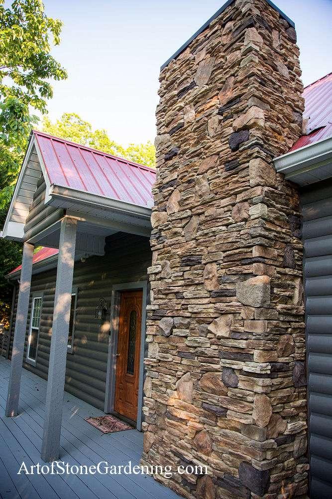 Stacked stone masonry fireplace Sautee Nacoochee