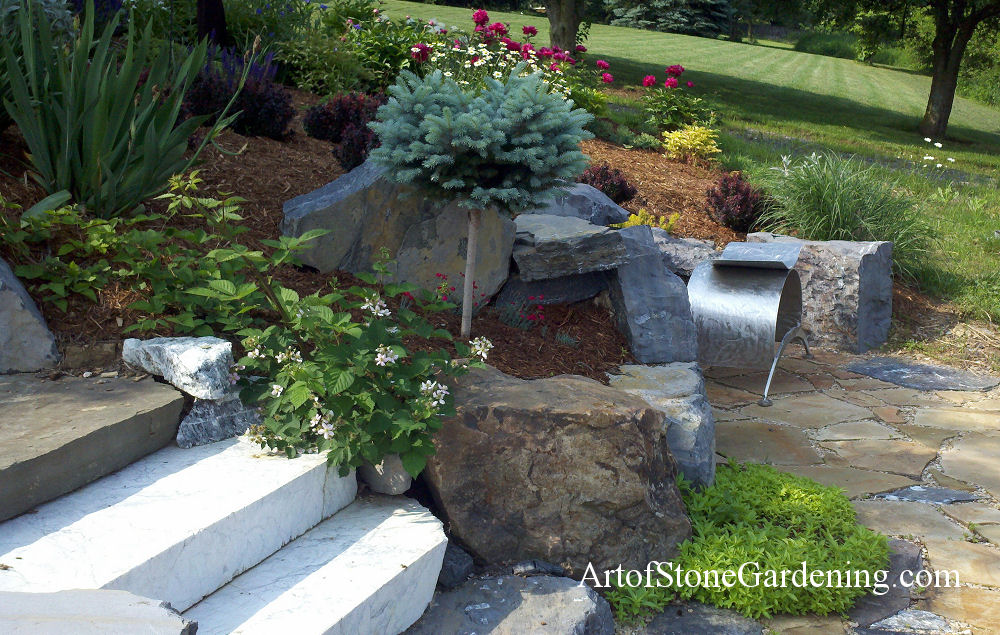 Stone steps and sitting area