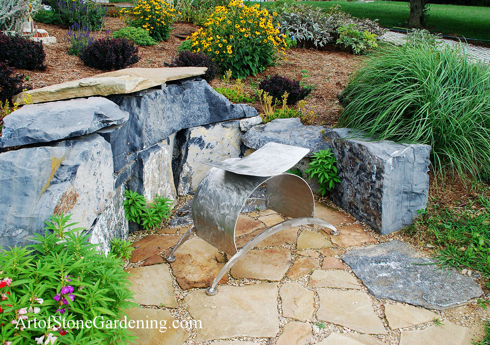 Stone Boulder sitting and patio area