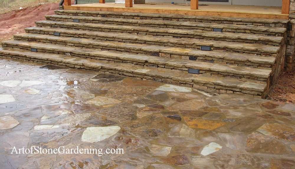 Masonry stone steps on Lake Lanier