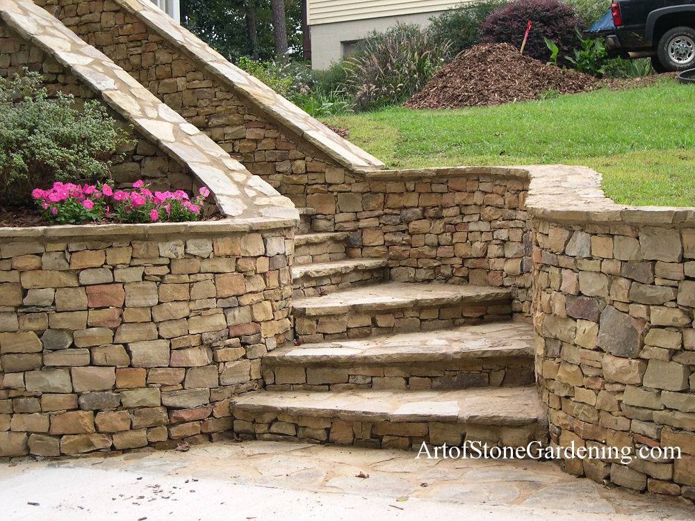 Dry stack stone steps and entrance