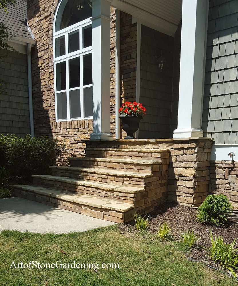 Front porch remodel art of stone gardening