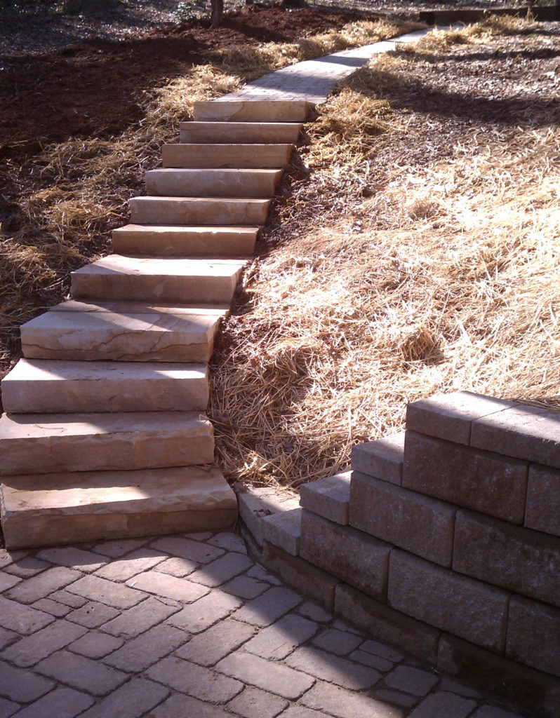 Stone steps and patio